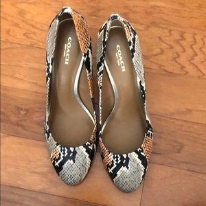Coach snakeskin heels size 8